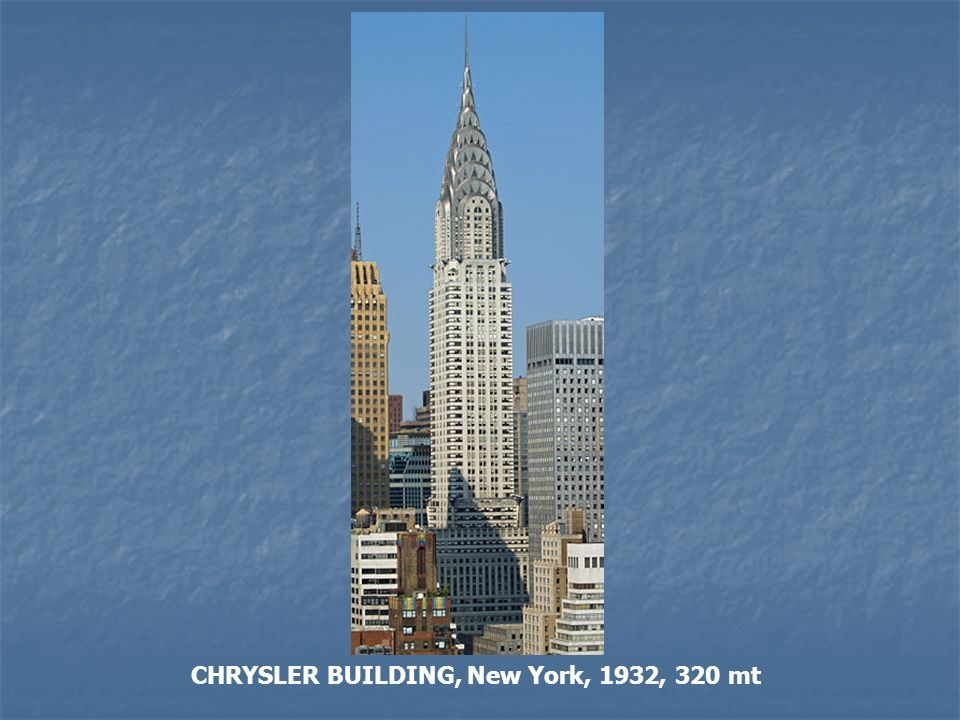CHRYSLER BUILDING, New York, 1932, 320 mt