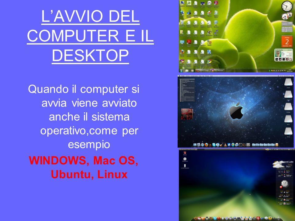 LAVVIO DEL COMPUTER E IL DESKTOP Quando il computer si avvia viene avviato anche il sistema operativo,come per esempio WINDOWS, Mac OS, Ubuntu, Linux