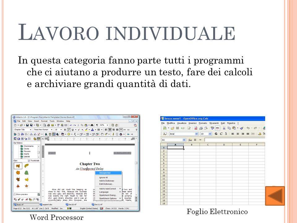 L AVORO INDIVIDUALE In questa categoria fanno parte tutti i programmi che ci aiutano a produrre un testo, fare dei calcoli e archiviare grandi quantità di dati.