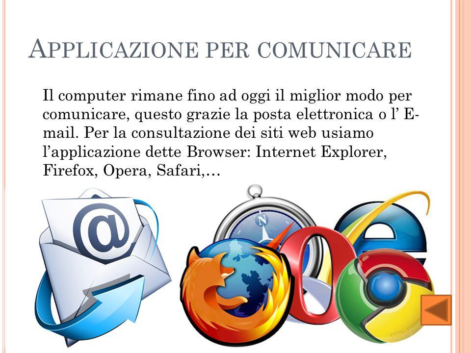 A PPLICAZIONE PER COMUNICARE Il computer rimane fino ad oggi il miglior modo per comunicare, questo grazie la posta elettronica o l E- mail.