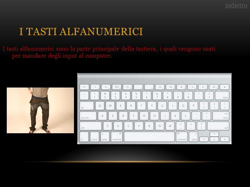 I TASTI ALFANUMERICI I tasti alfanumerici sono la parte principale della tastiera, i quali vengono usati per mandare degli input al computer.