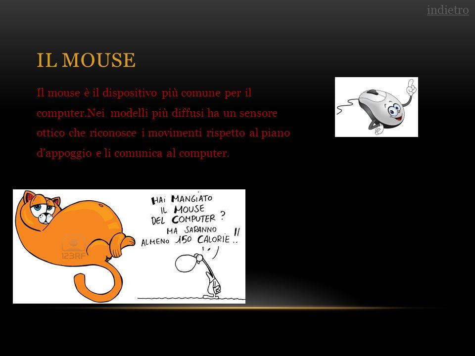 IL MOUSE Il mouse è il dispositivo più comune per il computer.Nei modelli più diffusi ha un sensore ottico che riconosce i movimenti rispetto al piano dappoggio e li comunica al computer.