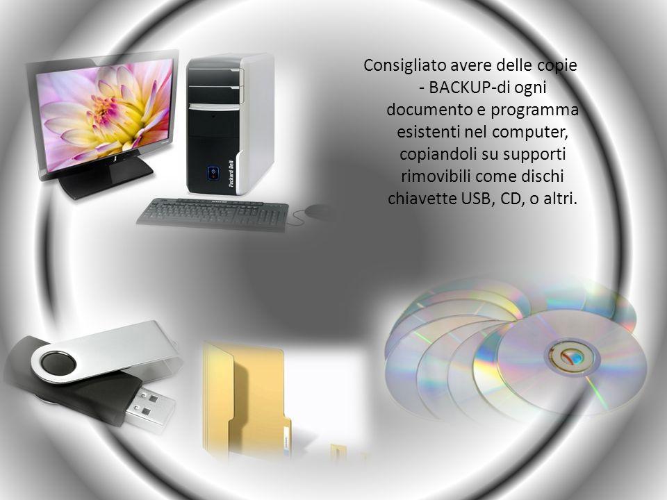 Consigliato avere delle copie - BACKUP-di ogni documento e programma esistenti nel computer, copiandoli su supporti rimovibili come dischi chiavette U