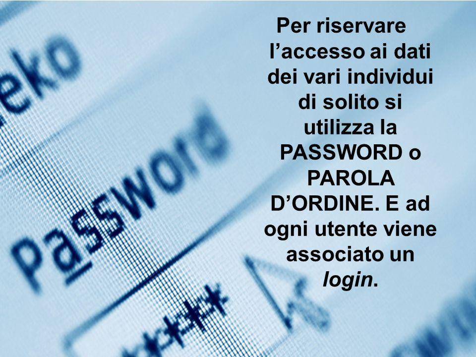 Per riservare laccesso ai dati dei vari individui di solito si utilizza la PASSWORD o PAROLA DORDINE. E ad ogni utente viene associato un login.