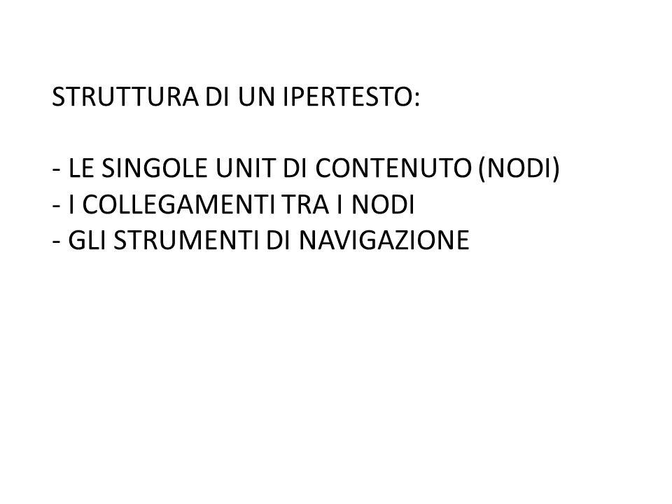 STRUTTURA DI UN IPERTESTO: - LE SINGOLE UNIT DI CONTENUTO (NODI) - I COLLEGAMENTI TRA I NODI - GLI STRUMENTI DI NAVIGAZIONE