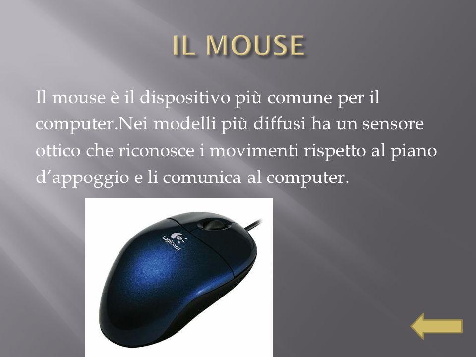 Il mouse è il dispositivo più comune per il computer.Nei modelli più diffusi ha un sensore ottico che riconosce i movimenti rispetto al piano dappoggi