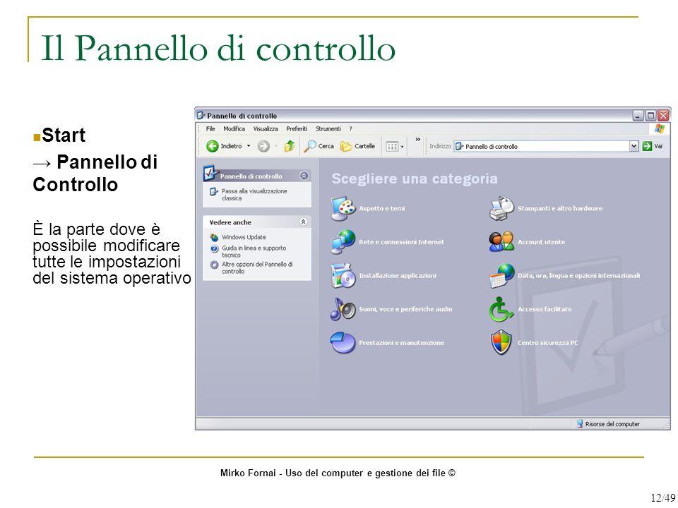 Il Pannello di controllo Start Pannello di Controllo È la parte dove è possibile modificare tutte le impostazioni del sistema operativo Mirko Fornai -
