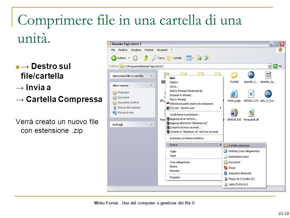 Comprimere file in una cartella di una unità. Destro sul file/cartella Invia a Cartella Compressa Verrà creato un nuovo file con estensione.zip Mirko