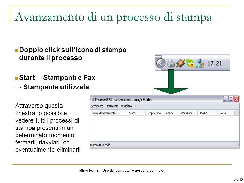 Avanzamento di un processo di stampa Doppio click sullicona di stampa durante il processo Start Stampanti e Fax Stampante utilizzata Attraverso questa
