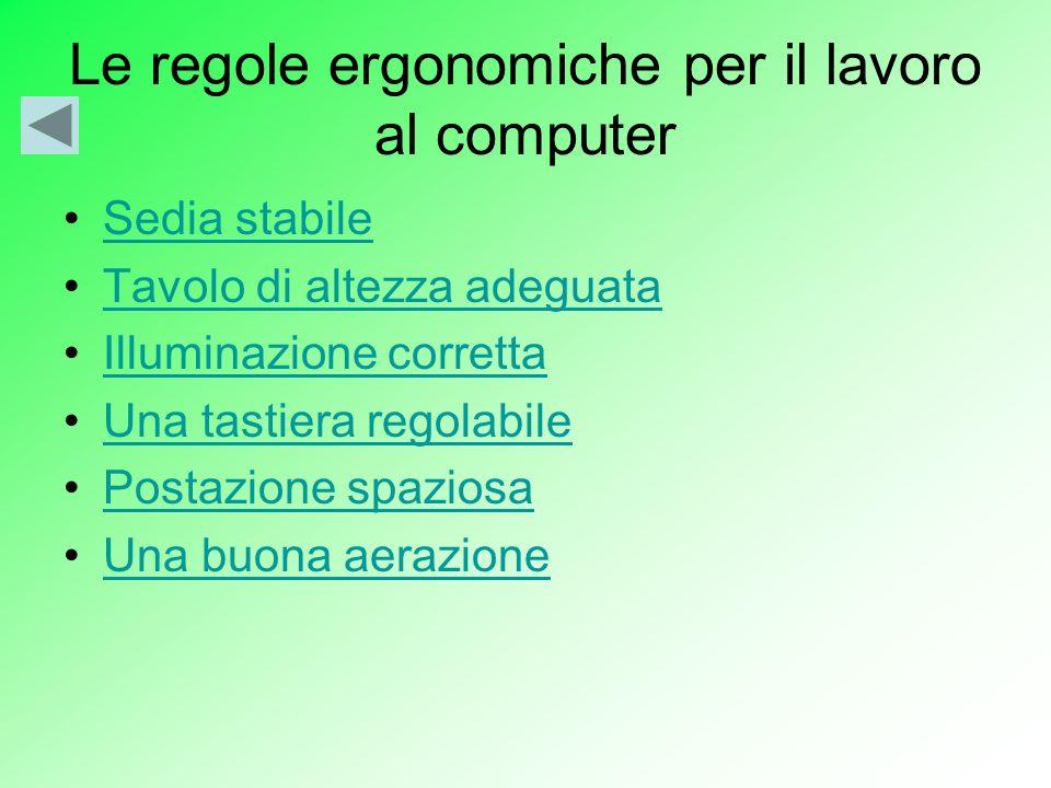 Le regole ergonomiche per il lavoro al computer Sedia stabile Tavolo di altezza adeguata Illuminazione corretta Una tastiera regolabile Postazione spaziosa Una buona aerazione
