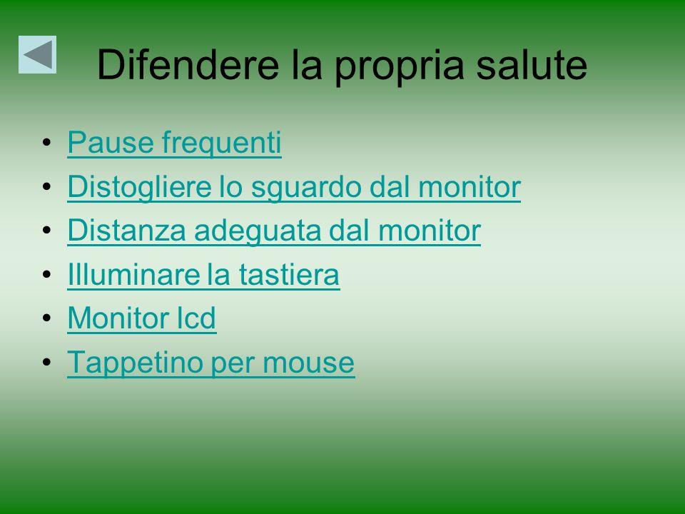 Difendere la propria salute Pause frequenti Distogliere lo sguardo dal monitor Distanza adeguata dal monitor Illuminare la tastiera Monitor lcd Tappetino per mouse