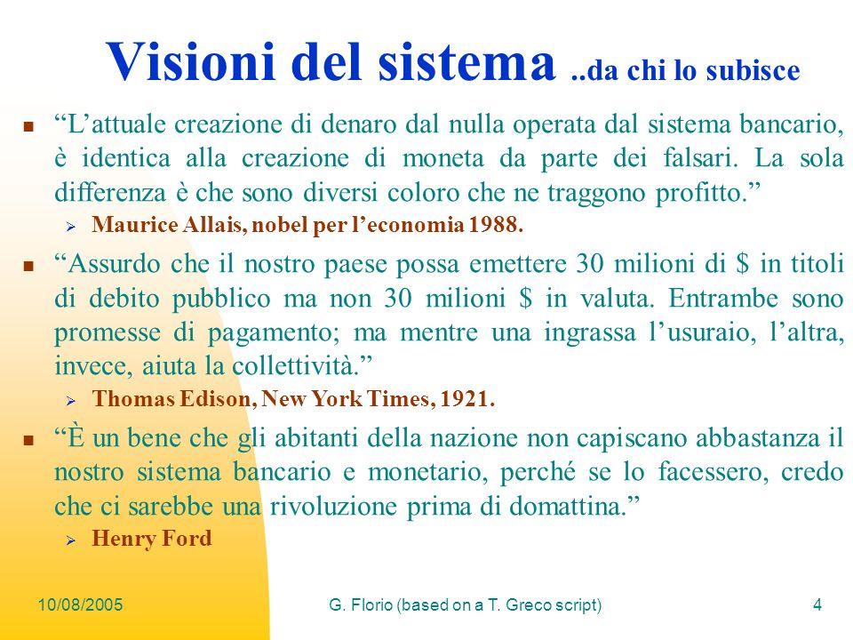 10/08/2005G. Florio (based on a T. Greco script)4 Visioni del sistema..da chi lo subisce Lattuale creazione di denaro dal nulla operata dal sistema ba