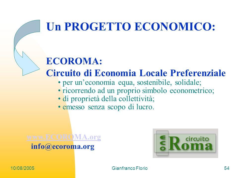 10/08/2005Gianfranco Florio54 ECOROMA: Circuito di Economia Locale Preferenziale per uneconomia equa, sostenibile, solidale; ricorrendo ad un proprio simbolo econometrico; di proprietà della collettività; emesso senza scopo di lucro.