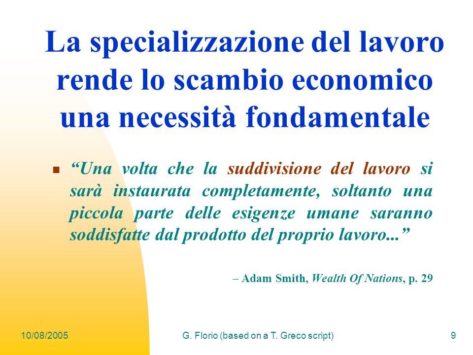 10/08/2005G. Florio (based on a T. Greco script)9 La specializzazione del lavoro rende lo scambio economico una necessità fondamentale Una volta che l