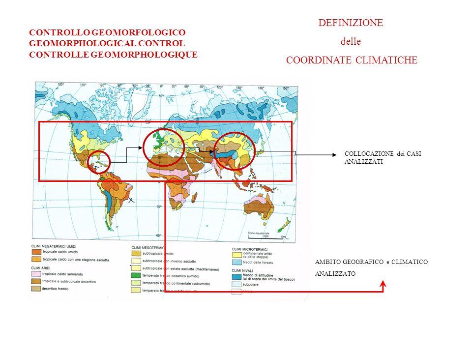 AMBITO GEOGRAFICO e CLIMATICO ANALIZZATO DEFINIZIONE delle COORDINATE CLIMATICHE COLLOCAZIONE dei CASI ANALIZZATI