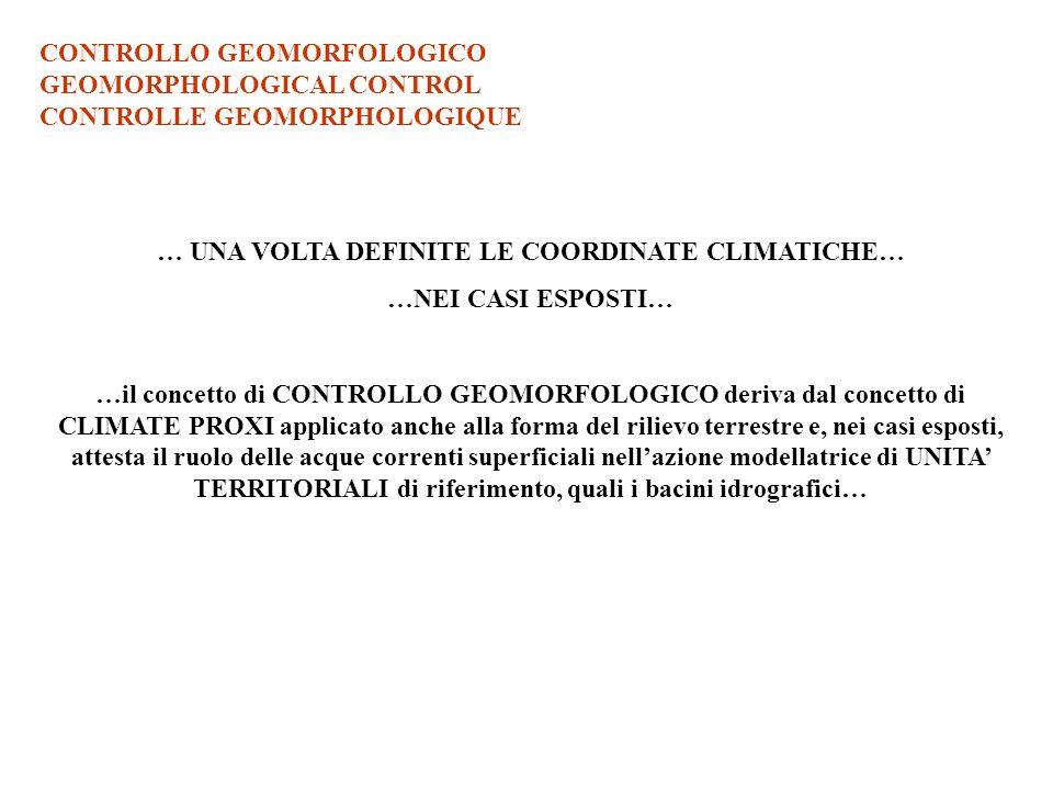 CONTROLLO GEOMORFOLOGICO GEOMORPHOLOGICAL CONTROL CONTROLLE GEOMORPHOLOGIQUE … UNA VOLTA DEFINITE LE COORDINATE CLIMATICHE… …NEI CASI ESPOSTI… …il con