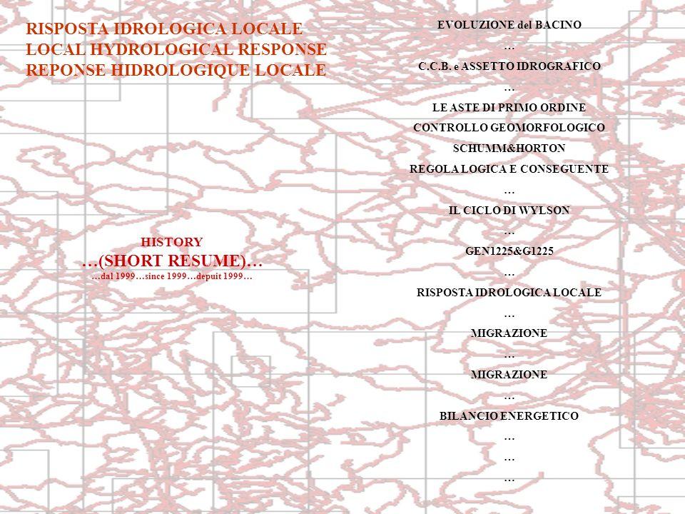 RISPOSTA IDROLOGICA LOCALE LOCAL HYDROLOGICAL RESPONSE REPONSE HIDROLOGIQUE LOCALE EVOLUZIONE del BACINO … C.C.B. e ASSETTO IDROGRAFICO … LE ASTE DI P