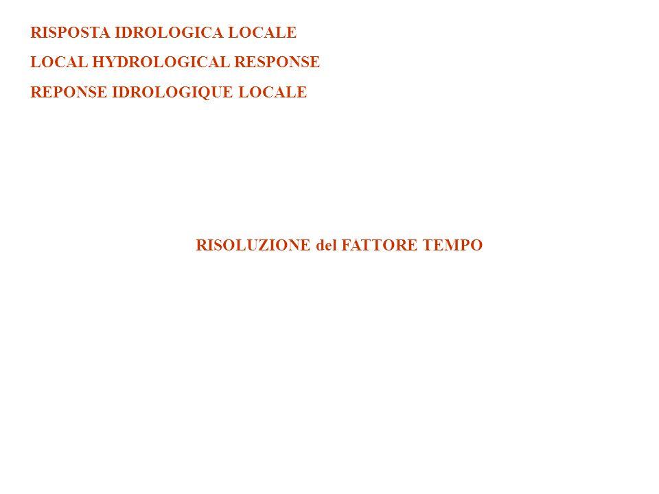 RISPOSTA IDROLOGICA LOCALE LOCAL HYDROLOGICAL RESPONSE REPONSE IDROLOGIQUE LOCALE RISOLUZIONE del FATTORE TEMPO