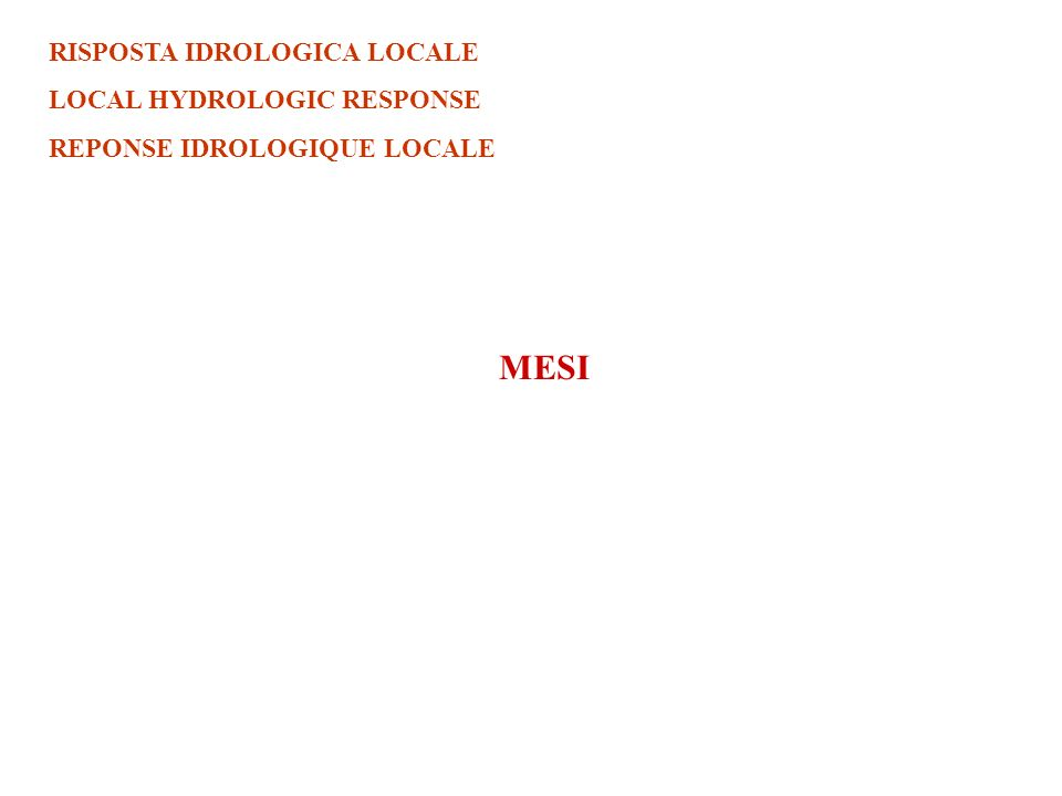RISPOSTA IDROLOGICA LOCALE LOCAL HYDROLOGIC RESPONSE REPONSE IDROLOGIQUE LOCALE MESI