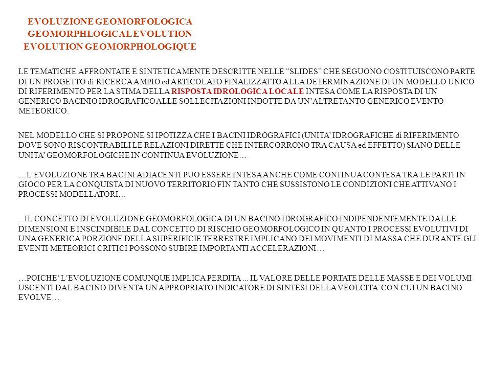 …IL CONCETTO DI EVOLUZIONE DI UN GENERICO BACINO IDROGRAFICO O IN GENERALE IL CONCETTO DI EVOLUZIONE MORFOLOGICA DI UNA GENERICA PORZIONE DELLA SUPERFICIE TOPOGRAFICA IMPLICA DIRETTAMENTE O INDIRETTAMENTE UNA CONDIZIONE NATURALE DI RISCHIO… EVOLUZIONE GEOMORFOLOGICA GEOMORPHLOGICAL EVOLUTION EVOLUTION GEOMORPHOLOGIQUE