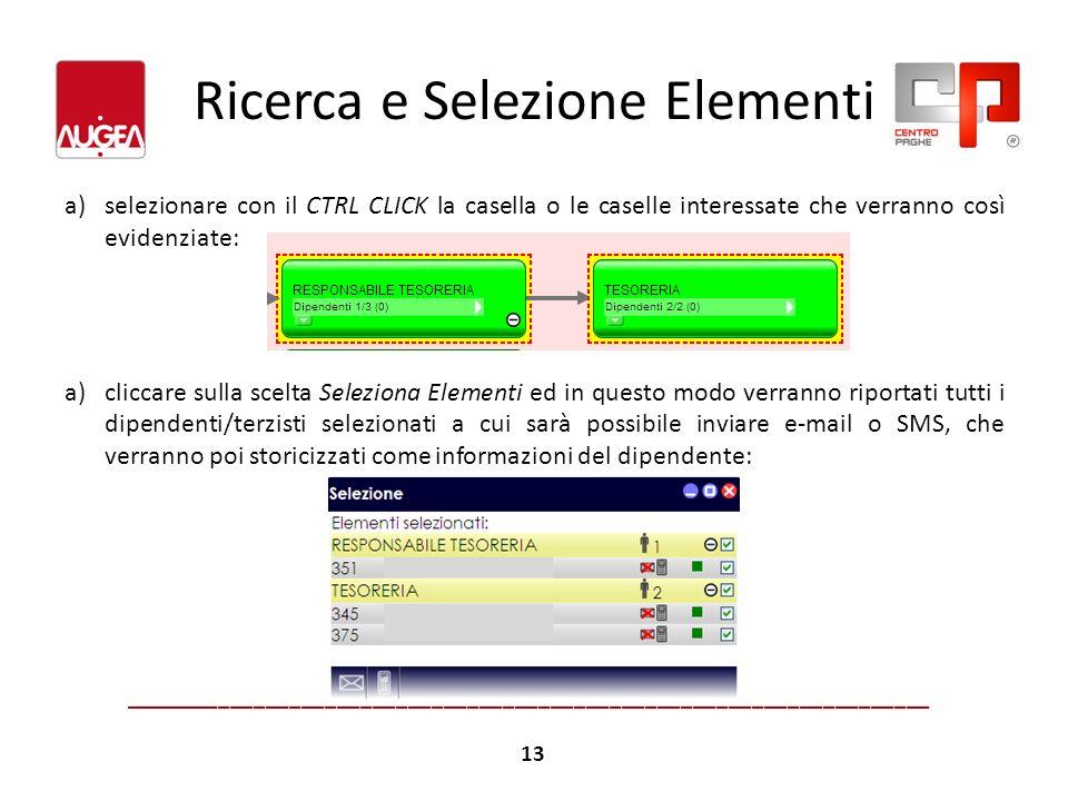 Ricerca e Selezione Elementi a)selezionare con il CTRL CLICK la casella o le caselle interessate che verranno così evidenziate: a)cliccare sulla scelt