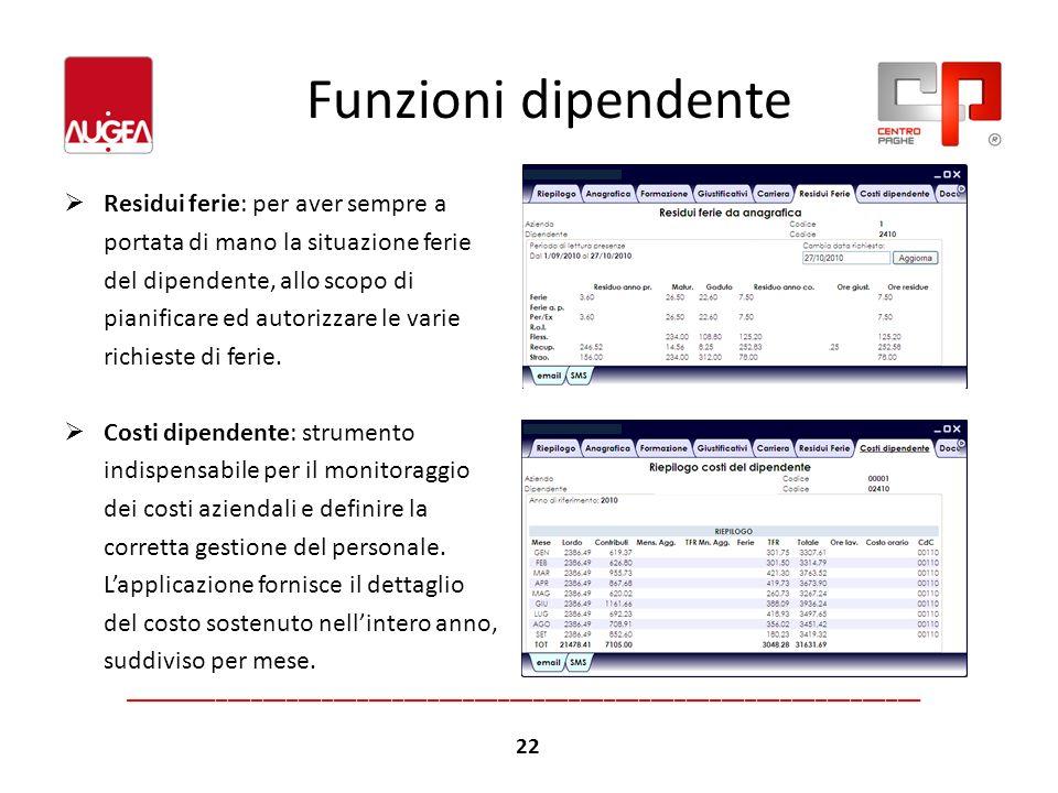 Funzioni dipendente Residui ferie: per aver sempre a portata di mano la situazione ferie del dipendente, allo scopo di pianificare ed autorizzare le v