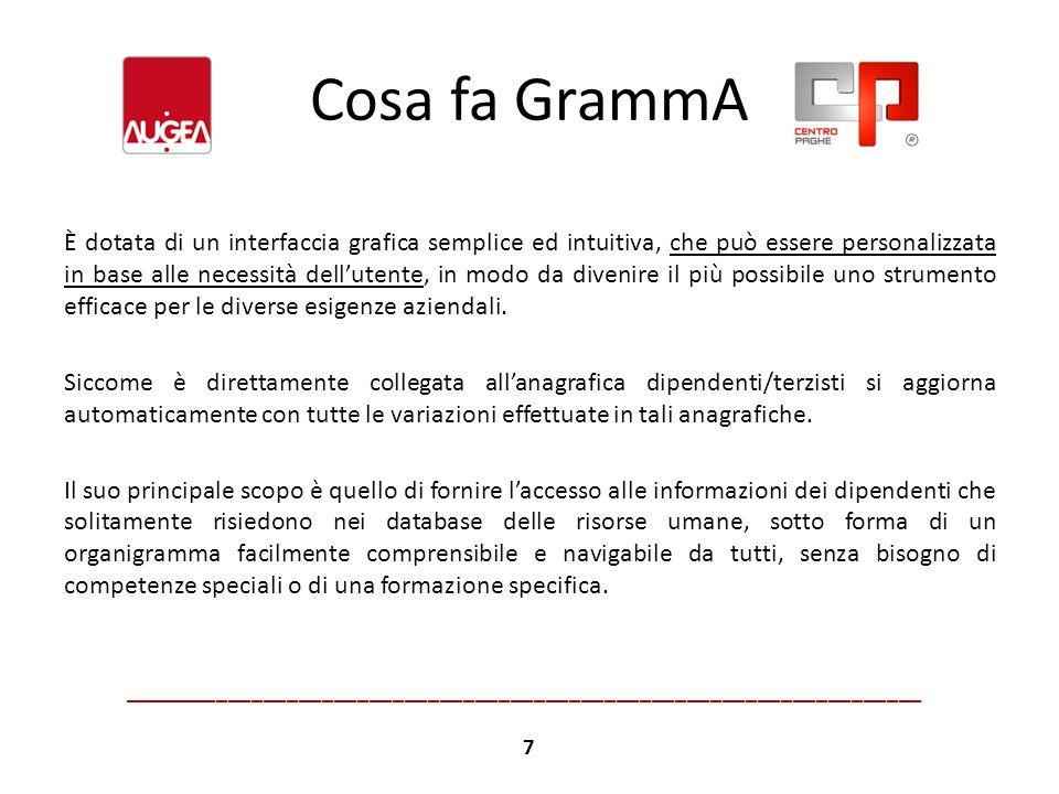Cosa fa GrammA Le fasi di analisi e di comunicazione delle informazioni risultano notevolmente semplificate così come le attività di pianificazione strategica e di valutazione da parte del management.