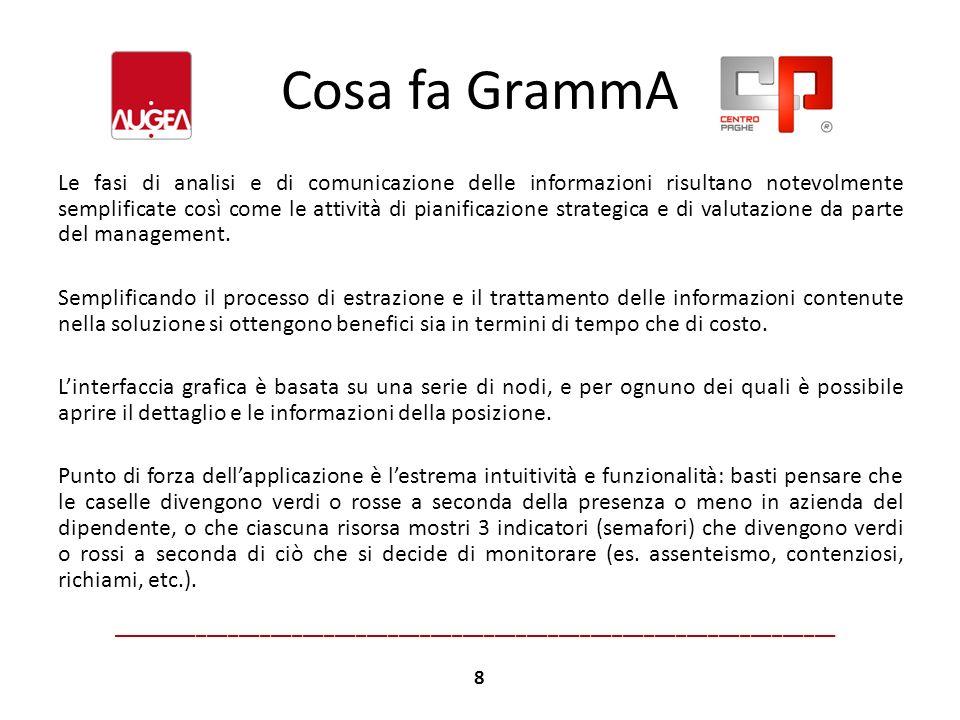 Cosa fa GrammA Le fasi di analisi e di comunicazione delle informazioni risultano notevolmente semplificate così come le attività di pianificazione st