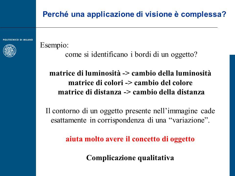 Esempio: come si identificano i bordi di un oggetto? matrice di luminosità -> cambio della luminosità matrice di colori -> cambio del colore matrice d