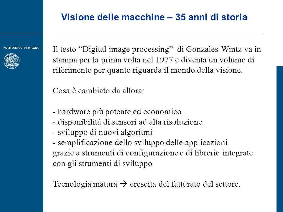 Il mercato italiano segmentato per applicazione Le applicazioni di ispezione nel loro insieme coprono il 69% del mercato, con un -9% sul 2009.