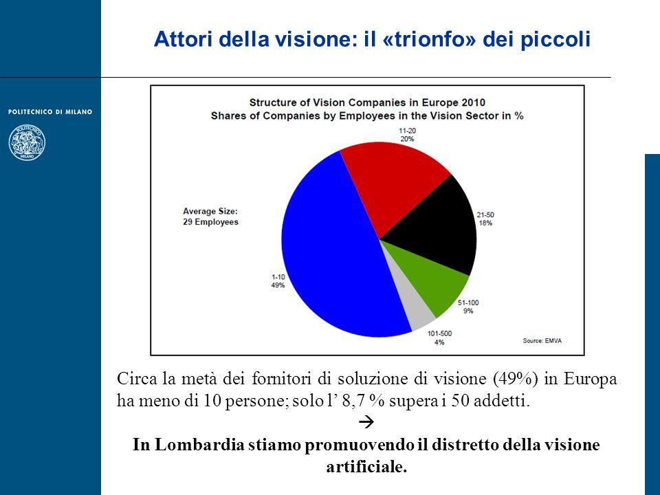 Attori della visione: il «trionfo» dei piccoli Circa la metà dei fornitori di soluzione di visione (49%) in Europa ha meno di 10 persone; solo l 8,7 %