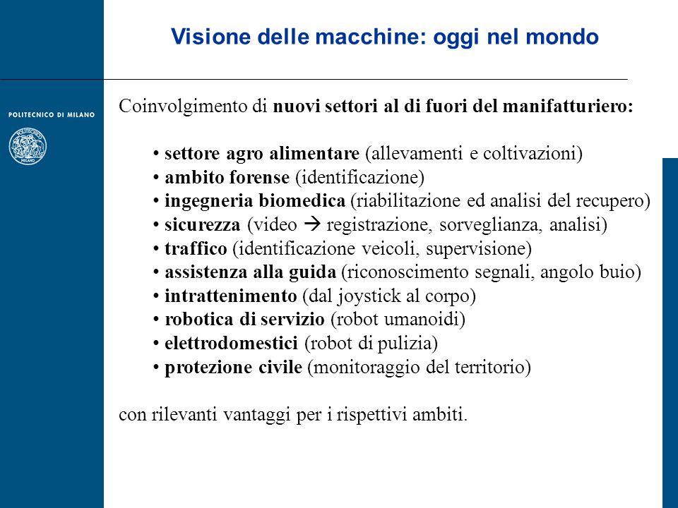 Visione delle macchine: oggi nel mondo Coinvolgimento di nuovi settori al di fuori del manifatturiero: settore agro alimentare (allevamenti e coltivaz