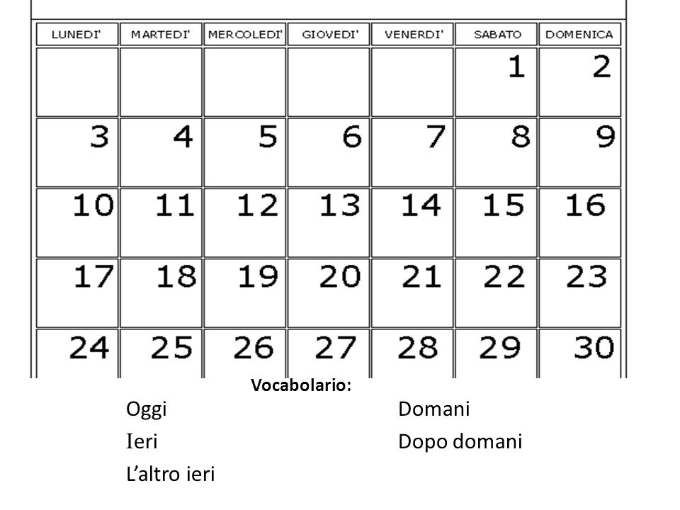 Knowing what day is today (oggi), tell what day is yesterday (ieri) and tomorrow(domani).
