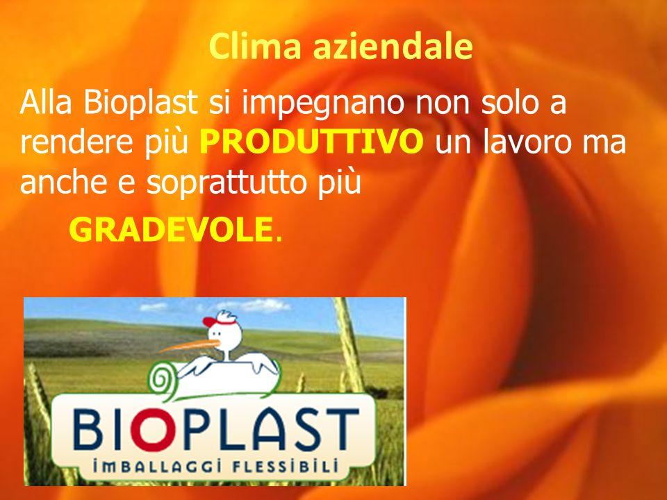 Clima aziendale Alla Bioplast si impegnano non solo a rendere più PRODUTTIVO un lavoro ma anche e soprattutto più GRADEVOLE.