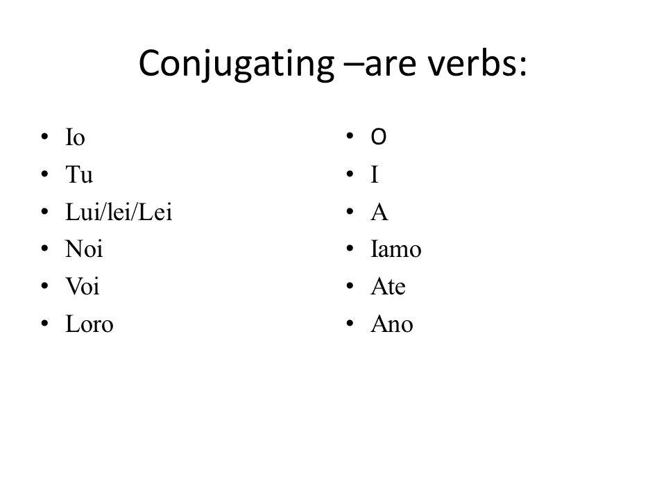 Conjugating –are verbs: Io Tu Lui/lei/Lei Noi Voi Loro O I A Iamo Ate Ano