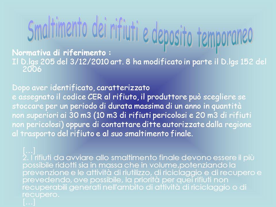 Normativa di riferimento : Il D.lgs 205 del 3/12/2010 art. 8 ha modificato in parte il D.lgs 152 del 2006 Dopo aver identificato, caratterizzato e ass