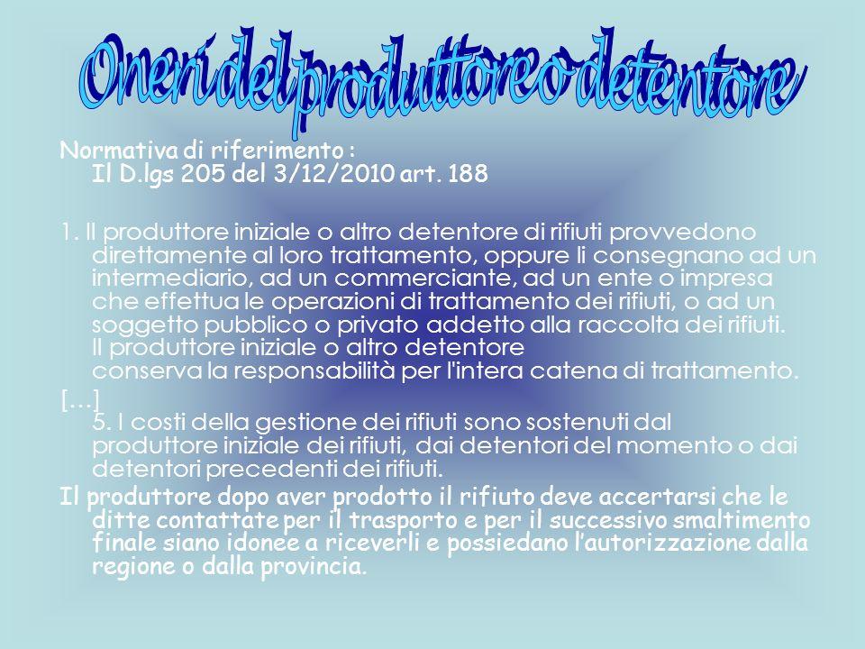 Normativa di riferimento : Il D.lgs 205 del 3/12/2010 art. 188 1. Il produttore iniziale o altro detentore di rifiuti provvedono direttamente al loro