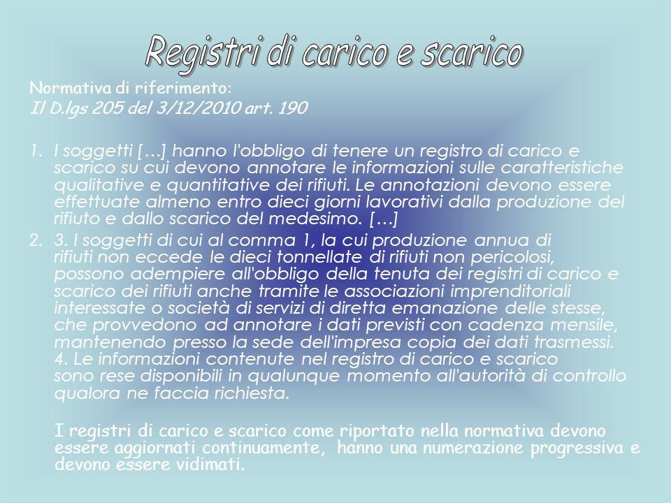 Normativa di riferimento: Il D.lgs 205 del 3/12/2010 art. 190 1.I soggetti […] hanno l'obbligo di tenere un registro di carico e scarico su cui devono