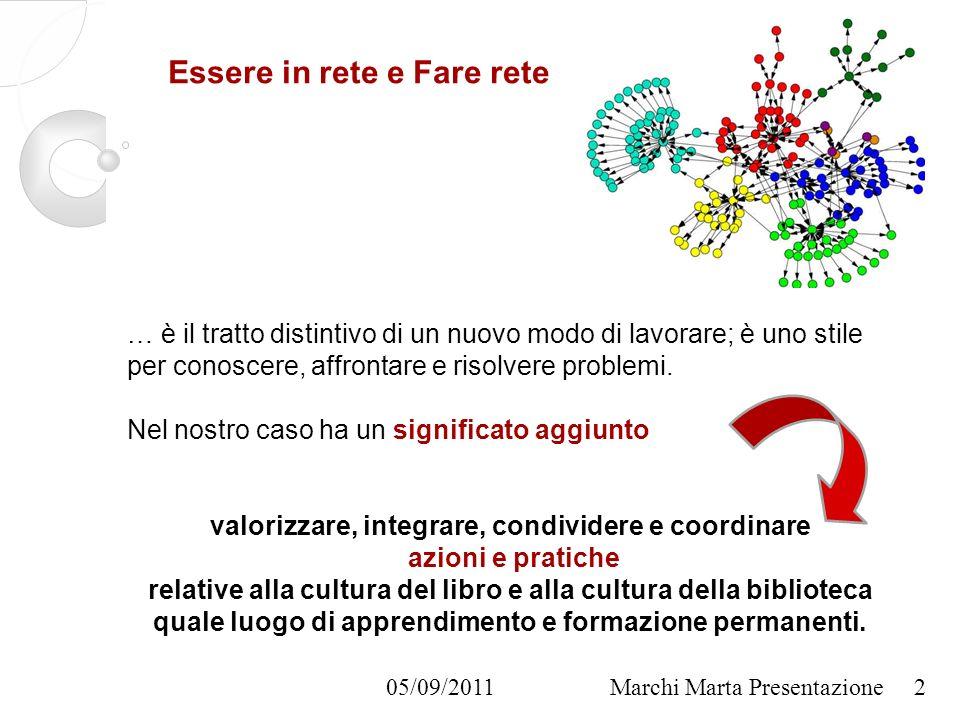 05/09/2011Marchi Marta Presentazione Essere in rete e Fare rete … è il tratto distintivo di un nuovo modo di lavorare; è uno stile per conoscere, affrontare e risolvere problemi.