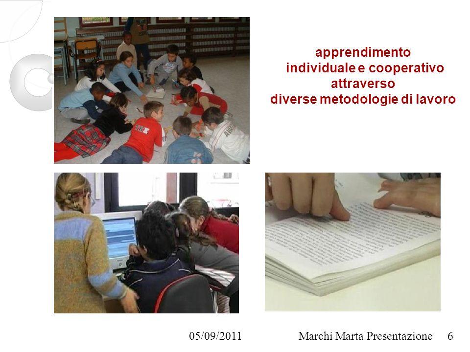 05/09/2011Marchi Marta Presentazione apprendimento individuale e cooperativo attraverso diverse metodologie di lavoro 6