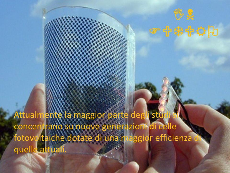 IN FUTURO Attualmente la maggior parte degli studi si concentrano su nuove generazioni di celle fotovoltaiche dotate di una maggior efficienza di quel
