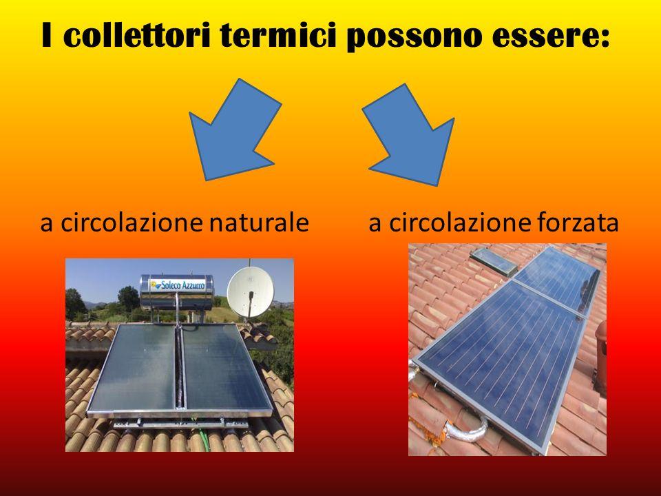 I collettori termici possono essere: a circolazione naturale a circolazione forzata