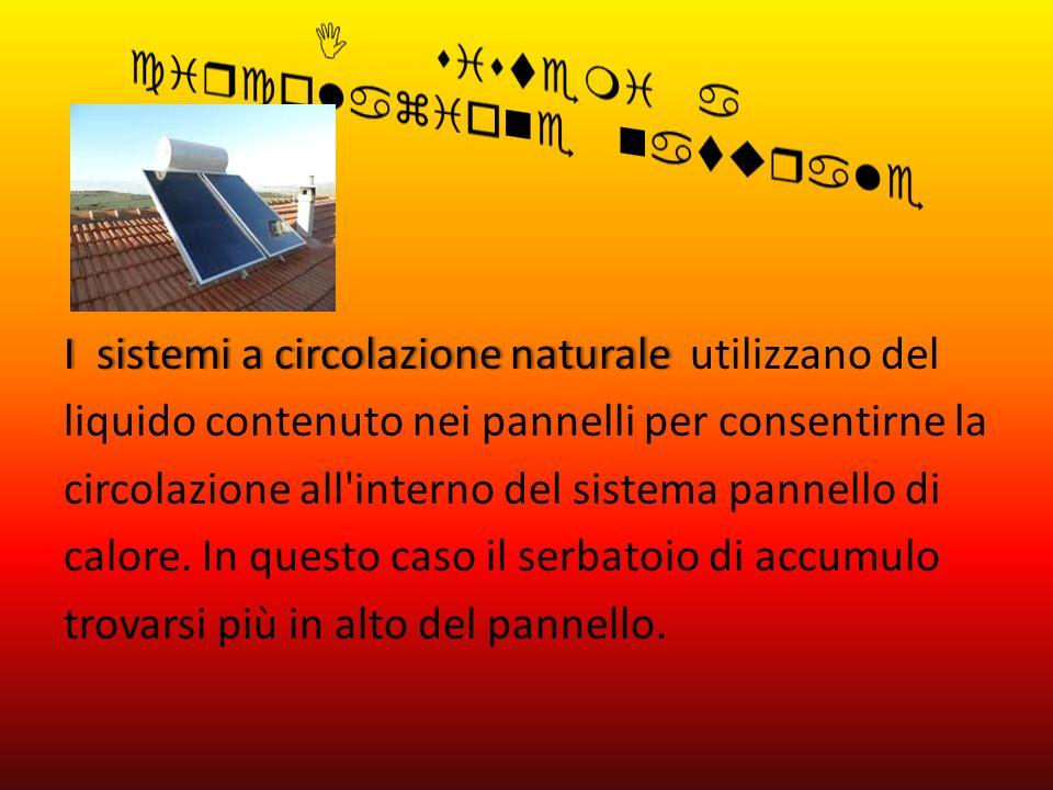 I sistemi a circolazione naturaleI sistemi a circolazione naturale utilizzano del liquido contenuto nei pannelli per consentirne la circolazione all'i