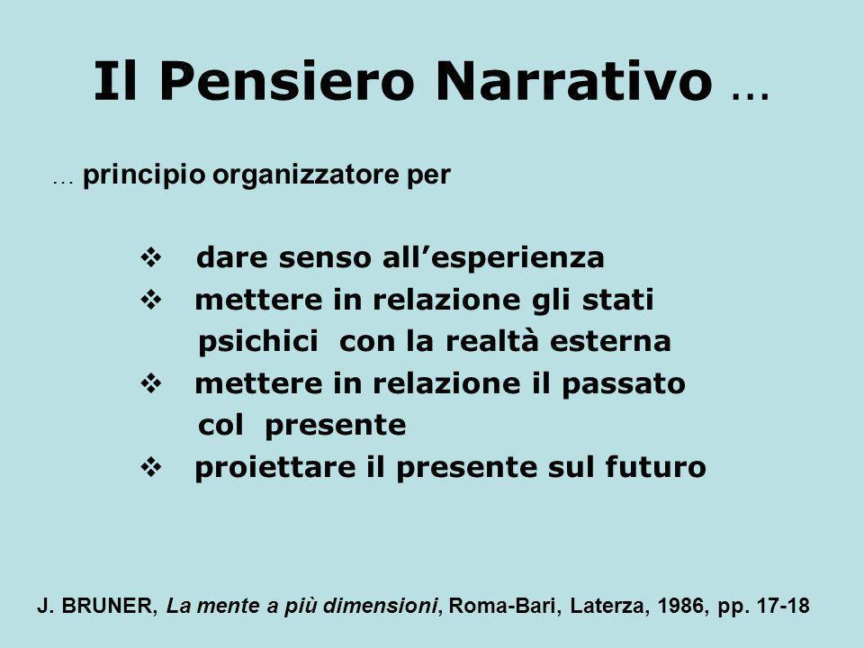 Il Pensiero Narrativo … … principio organizzatore per dare senso allesperienza mettere in relazione gli stati psichici con la realtà esterna mettere i