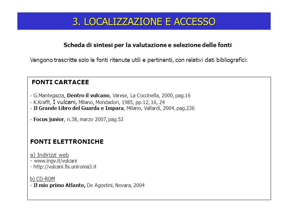 Scheda di sintesi per la valutazione e selezione delle fonti 3. LOCALIZZAZIONE E ACCESSO FONTI CARTACEE - G.Mantegazza, Dentro il vulcano, Varese, La