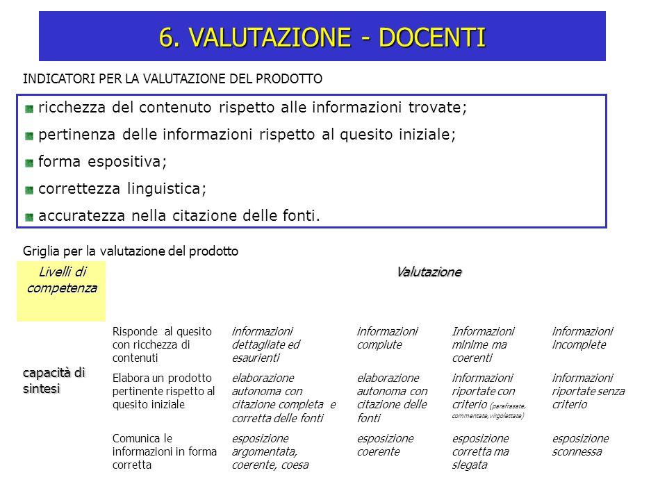 INDICATORI PER LA VALUTAZIONE DEL PRODOTTO ricchezza del contenuto rispetto alle informazioni trovate; pertinenza delle informazioni rispetto al quesi