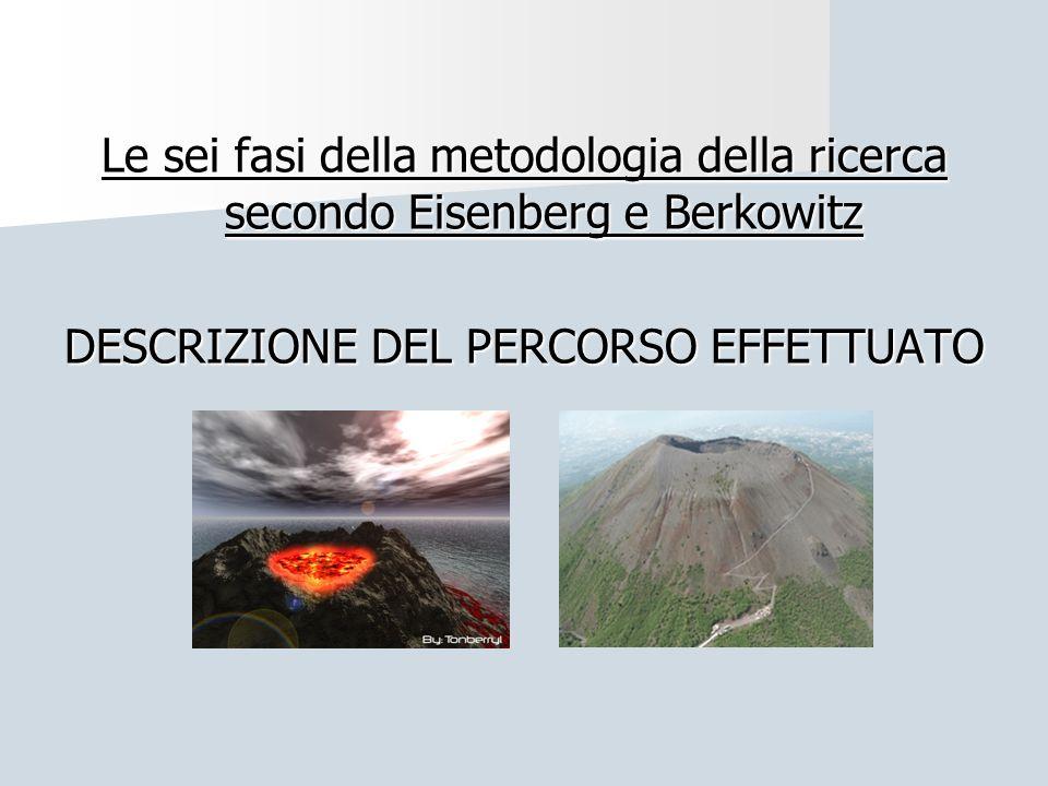 Le sei fasi della metodologia della ricerca secondo Eisenberg e Berkowitz DESCRIZIONE DEL PERCORSO EFFETTUATO