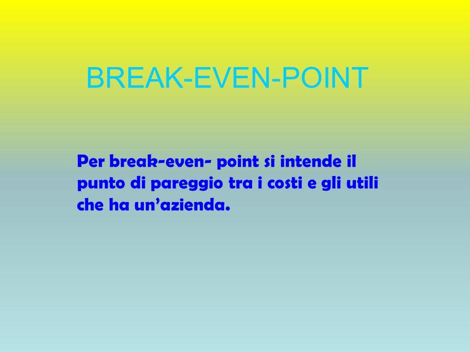 BREAK-EVEN-POINT Per break-even- point si intende il punto di pareggio tra i costi e gli utili che ha unazienda.