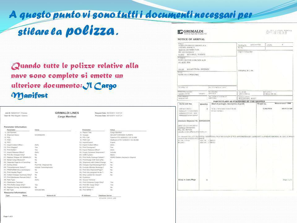 A questo punto vi sono tutti i documenti necessari per stilare la polizza. Quando tutte le polizze relative alla nave sono complete si emette un ulter