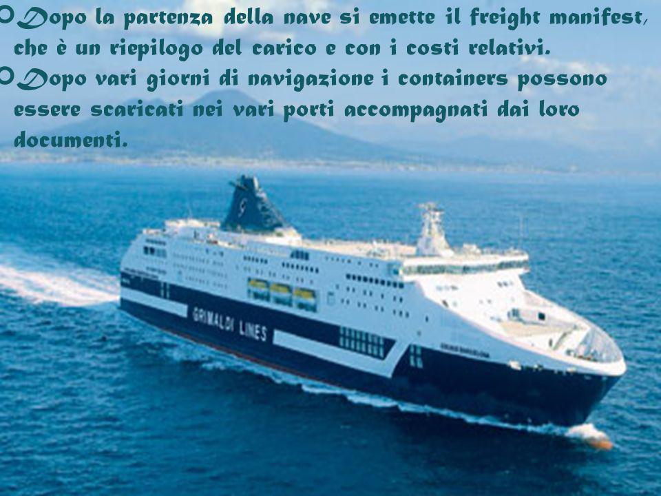 Dopo la partenza della nave si emette il freight manifest, che è un riepilogo del carico e con i costi relativi. Dopo vari giorni di navigazione i con